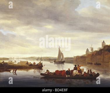 Bildende Kunst, Ruysdael, Salomon, (ca. 1600-1670), Malerei, 'Die Überfahrt bei Nimwegen', 1647, Öl auf Leinwand, 70 x 89 cm, Rhe