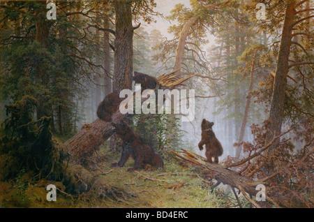 """Bildende Kunst, Shishkin, Ivan Ivanovich, (1832-1898), Malerei """"Morgen in einem Pinienwald"""", 1889, Öl auf Leinwand, - Stockfoto"""