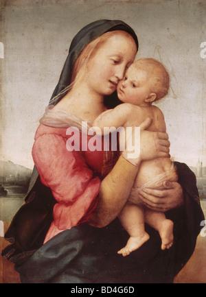 """Bildende Kunst, Raffael (Raffaello Santi) (6.4.1483 - 6.4.1520), Gemälde """"Madonna della Tempi"""", 1507, Alte Pinakothek, - Stockfoto"""
