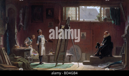 "Bildende Kunst, Spitzweg, Carl (1808 – 1885), Malerei, ""Der Maler"", 1860, 40 x 22 cm, Privatsammlung, Biedermeier,"