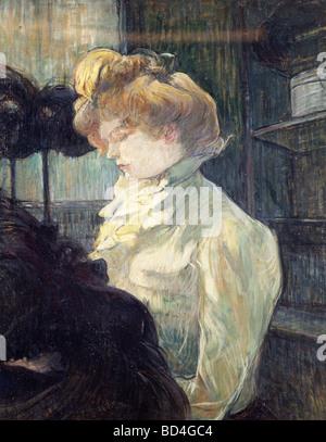 Bildende Kunst, Toulouse-Lautrec, Henri de (1864-1901), Malerei, 'La Modiste', 1900, Museum Albi, Europa, Frankreich, - Stockfoto