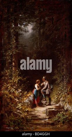 """Bildende Kunst, Spitzweg, Carl (1808 – 1885), Malerei, """"Begegnung Im Walde"""" (The Meeting im Wald), Öl auf Leinwand, - Stockfoto"""