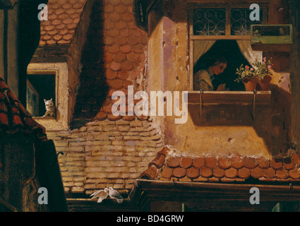 Bildende Kunst, Spitzweg, Carl (1808 – 1885), Malerei, 'Der Briefbote Im Rosenthal' (The Postman in Rosenthal), - Stockfoto