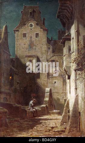 """Bildende Kunst, Spitzweg, Carl (1808 – 1885), Malerei, """"The Sleeping Nachtwächter"""", 1875, Museum Heidelberg, Deutschland, - Stockfoto"""