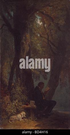 """Bildende Kunst, Spitzweg, Carl (1808 – 1885), Malerei, """"Der Lieblingsplatz"""" (The Favorite Place), Öl auf Leinwand, - Stockfoto"""