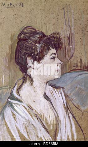 """Bildende Kunst, Toulouse-Lautrec, Henri de (1864-1901), """"Marcelle"""", 1893-1894, Öl auf Karton, Malerei, Jeu de Paume, - Stockfoto"""