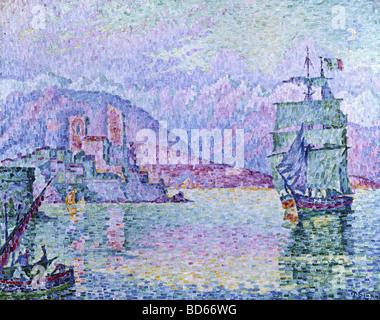 Bildende Kunst, Signac, Paul, (1863-1935), Malerei, 'Antibes, Abend', 1914, Öl auf Leinwand, Musée De La Ville, Straßburg, Fra Stockfoto
