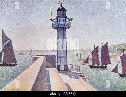 """Bildende Kunst, Signac, Paul, (1863-1935), Malerei, """"Portrieux, Le Phare"""", 1888, Rijksmuseum Kröller-Müller, Otterlo, Französisch, n Stockfoto"""