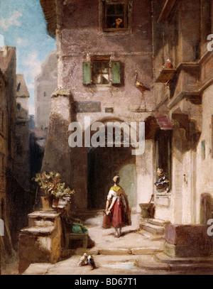 Bildende Kunst, Spitzweg, Carl (1808 – 1885), Malerei, Bei der Storchenapotheke (am Storchen Apotheke), Öl auf Pappe, 2