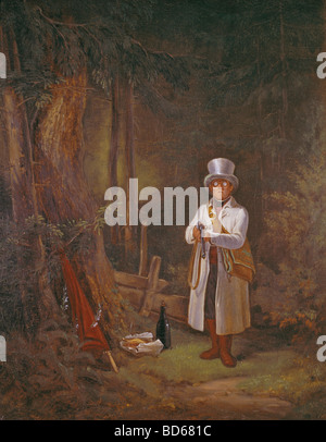 "Bildende Kunst, Spitzweg, Carl (1808 – 1885), Malerei, ""Der Sonntagsjaeger"" (The Sunday Hunting), 1845, Öl auf Leinwand, - Stockfoto"
