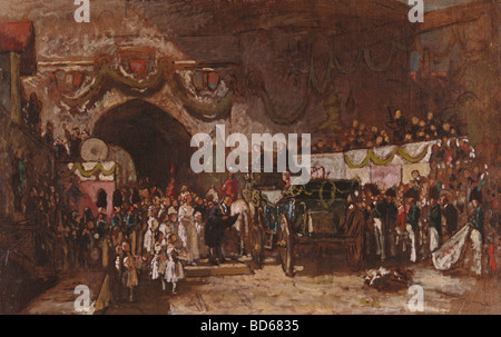"""Bildende Kunst, Deutsch, Biedermeier, 19., Karl, Spitzweg, Carl (1808 – 1885), Malerei, """"Serenissimi Ankunft"""", Privatsammlung - Stockfoto"""