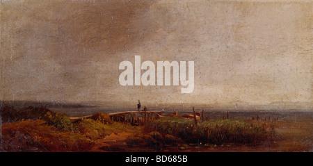 """Bildende Kunst, Spitzweg, Carl (1808 – 1885), Malerei, """"Am Ammersee"""" (am Ammersee), bayerische Zustand-Bilder-Galerien, Depot, Mu"""