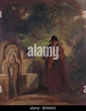 """Bildende Kunst, Spitzweg, Carl (1808 – 1885), Malerei, """"Der Durstige Wanderer"""" (den durstigen Wanderer), Öl auf - Stockfoto"""