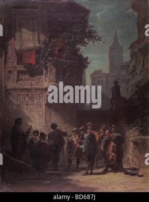 """Bildende Kunst, Spitzweg, Carl (1808 – 1885), Malerei, """"Spanisches Ständchen"""" (Spanische Serenade), Öl auf Leinwand, - Stockfoto"""