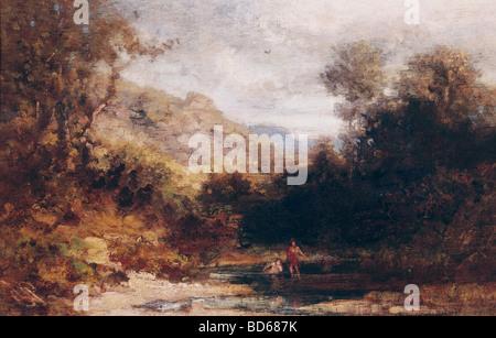 Bildende Kunst, Spitzweg, Carl (1808 – 1885), Malerei, Baden Menschen, private Sammlung, München, Karl, Deutsch, Biedermeier, 19.Jh