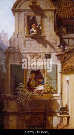 """Bildende Kunst, Spitzweg, Carl (1808 – 1885), Malerei, """"Der Abgefangene Geburtstagskalender"""" (The abgefangen Love Letter), Öl auf Leinwand"""