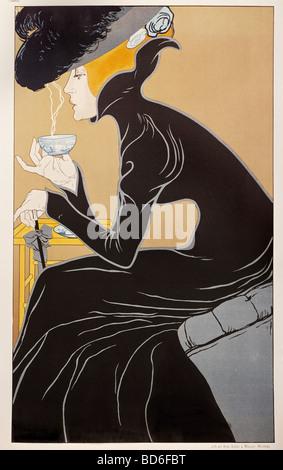 """Bildende Kunst, Mucha, Alfons Maria, 24.7.1860 - 14.7.1939, Grafik, """"Tee Trinkende Dame"""" (Tee-Dame), Werbung für - Stockfoto"""