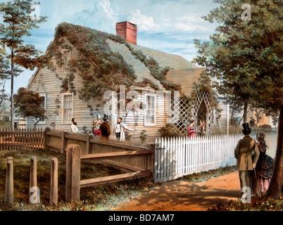 Geburtsort des Honorable Stephen A. Douglass, Brandon, Vermont mit Menschen reden in den eingezäunten Garten. Ca. - Stockfoto