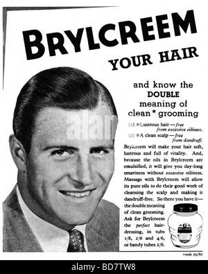alte Werbung für Brylcreem von 1952 - Stockfoto