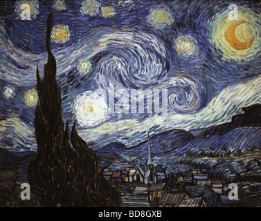 """Bildende Kunst, Gogh, Vincent van, (1853 - 1890), Malerei, """"Sternennacht"""", Öl auf Leinwand, 73 x 92 cm, 1889, Nationalgalerie, - Stockfoto"""