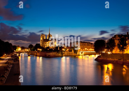 Ufer mit Notre Dame und der Ile De La Cite Paris Frankreich - Stockfoto