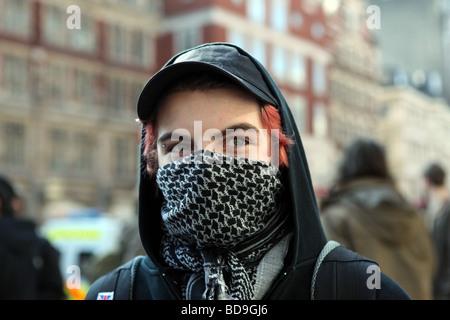 G20-Demonstranten in London - Stockfoto