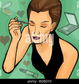 Nahaufnahme einer Frau Auge Schminken - Stockfoto