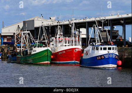 Angelboote/Fischerboote am Kai Fisch in North Shields - Stockfoto