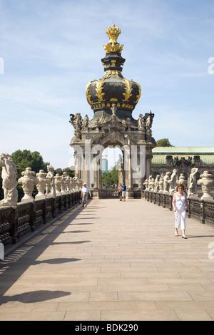 Zwinger Palace, Kronentor, Dresden, Sachsen, Deutschland - Stockfoto