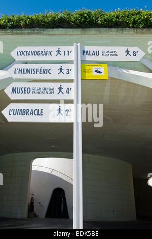 Ciudad de Las Artes y Las Ciencias, Stadt der Künste & Wissenschaften, Wegweiser mit Gehzeit zum Museo, L'Hemisferic, - Stockfoto