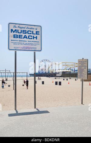 Muscle Beach am Strand von Santa Monica in Los Angeles, Kalifornien, USA - Stockfoto