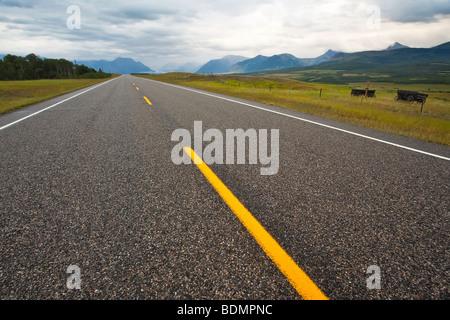 Highway #6 zu Waterton Lakes National Park, Alberta, Kanada. - Stockfoto