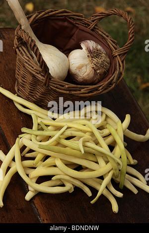 Knoblauch und grünen Bohnen auf einem Tisch im Garten - Stockfoto