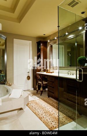 Luxus-Badezimmer mit Spiegel, Waschbecken und Dusche Stockfoto, Bild ...
