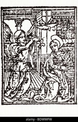 R Pynson 1522 18 Januar Hore Beatissime Virginis Marie Gabriel ein Zepter in seiner linken hand die Taube Verkündigung - Stockfoto