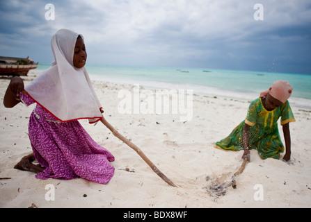 Kinder schlagen eine Krake mit Stöcken um machen, essbar, Jambiani, Sansibar, Tansania, Afrika - Stockfoto