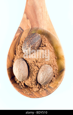 Muskatnüsse (Myristica Fragrans), ganze und Pulver auf einen Löffel aus Olivenholz - Stockfoto