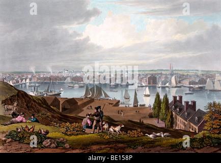 Baltimore von Federal Hill - ca. 1831 - Stockfoto