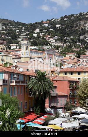 Blick über die Altstadt von Villefranche-Sur-Mer Südfrankreich - Stockfoto
