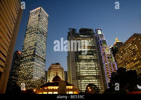 Hochhäuser, Dämmerung, Hong Kong Island, Hongkong, China, Asien - Stockfoto