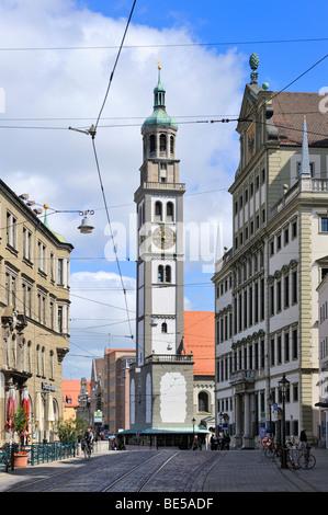Der Perlachturm-Turm in der historischen Stadt Augsburg, Bayern, Deutschland, Europa - Stockfoto