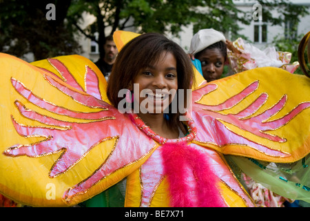 Junge Frau, Amasonia Group, Karneval der Kulturen 2009, Berlin, Deutschland, Europa - Stockfoto