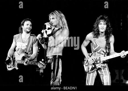 VAN HALEN - US-Rock-Gruppe über 1987 vom linken Sammy Haggar, David Lee Roth und Eddie Van Halen - Stockfoto