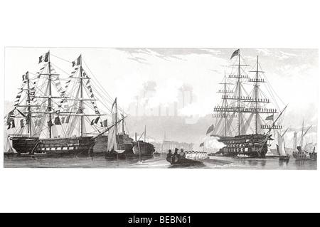 englische Linienschiff feuern einen Gruß französische Linienschiff in Fahnen-parade - Stockfoto