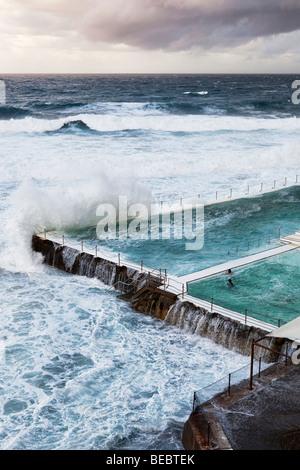 Schwimmer, Blick auf das Meer von einem Schwimmbad direkt am Meer am Bondi Beach, Sydney, Australien - Stockfoto