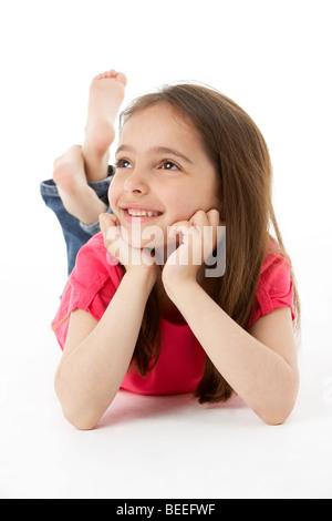 Mädchen am Magen - Stockfoto