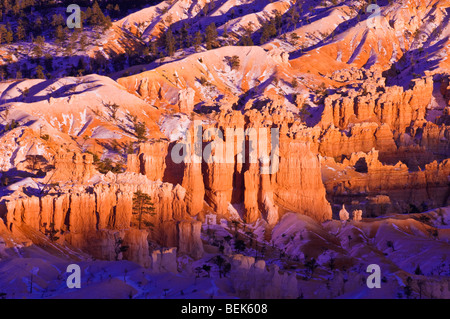 Abendlicht am Schnee bestäubt Felsformationen unter Bryce Point, Bryce-Canyon-Nationalpark, Utah - Stockfoto