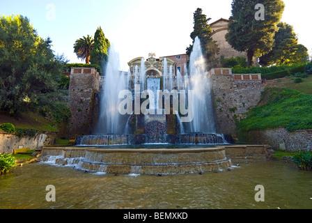 Der Brunnen von Neptun und die Orgel Wasserfontäne, Villa d ' Este, Tivoli, Italien - Stockfoto