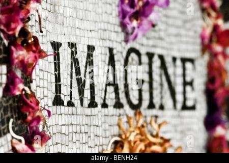 """""""Bunte"""" Blume Blütenblätter auf das 'Strawberry Fields' Denkmal für """"John Lennon"""" im """"Central Park"""" in """"New York - Stockfoto"""