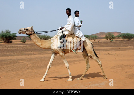 Zwei nubische jungen gekleidet in Thawb Dromedar Kamel (Camelus Dromedarius) Reiten in der nubischen Wüste des Sudan, - Stockfoto